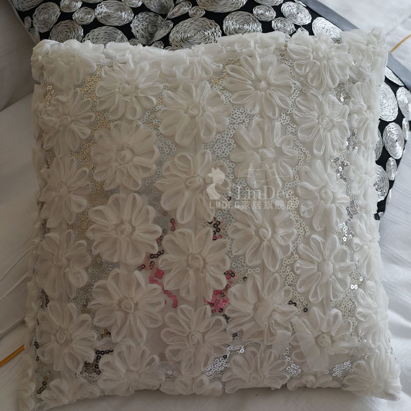 Literary lace sequined pillow cover lmdec decorative cushion cover pillow back sofa fabric modern minimalist
