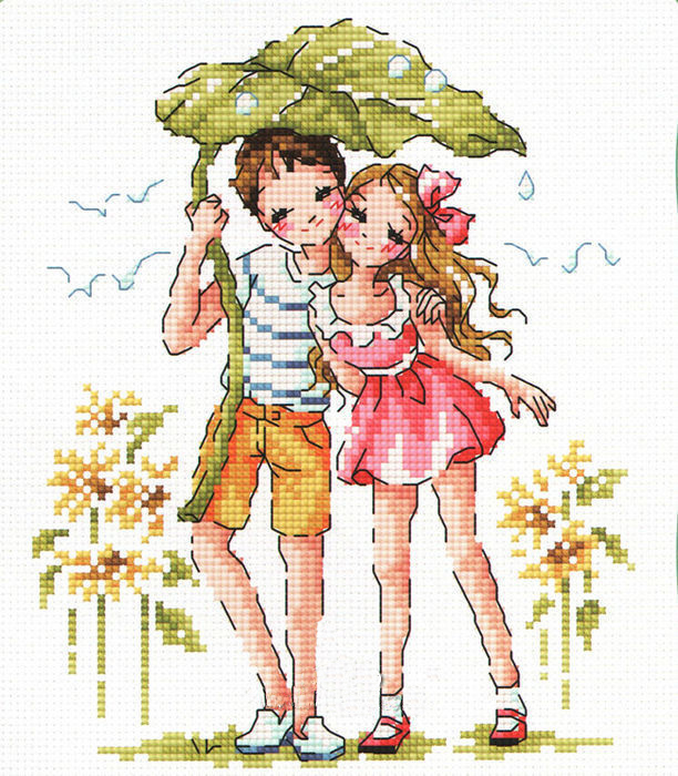 Little fishing egyptian cotton SO3205 walking in the rain [] korean version of the lovely accurate printed cloth cross stitch kit