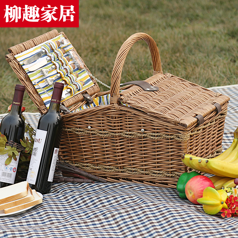 Liu fun home rattan wicker picnic basket with cutlery portable picnic basket with lid portable glove box