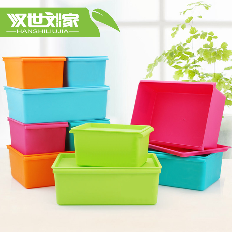 Liu shi han candy colored plastic storage box sorting box storage box desktop storage box storage box with a lid can be superimposed