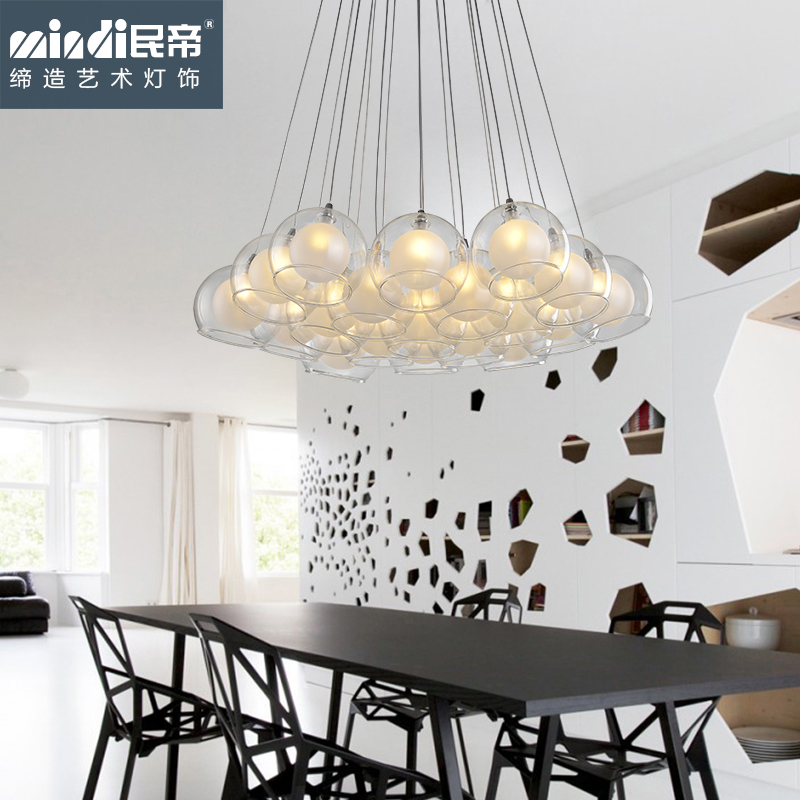 Living room lamps bedroom modern minimalist restaurant chandelier fashion creative personality bar glass ball chandelier lamp stairs