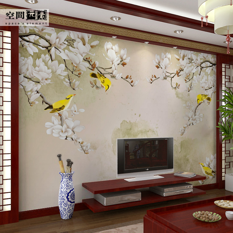 Living room sofa tv backdrop wallpaper wall covering seamless 3d wallpaper murals chinese wovens magnolia