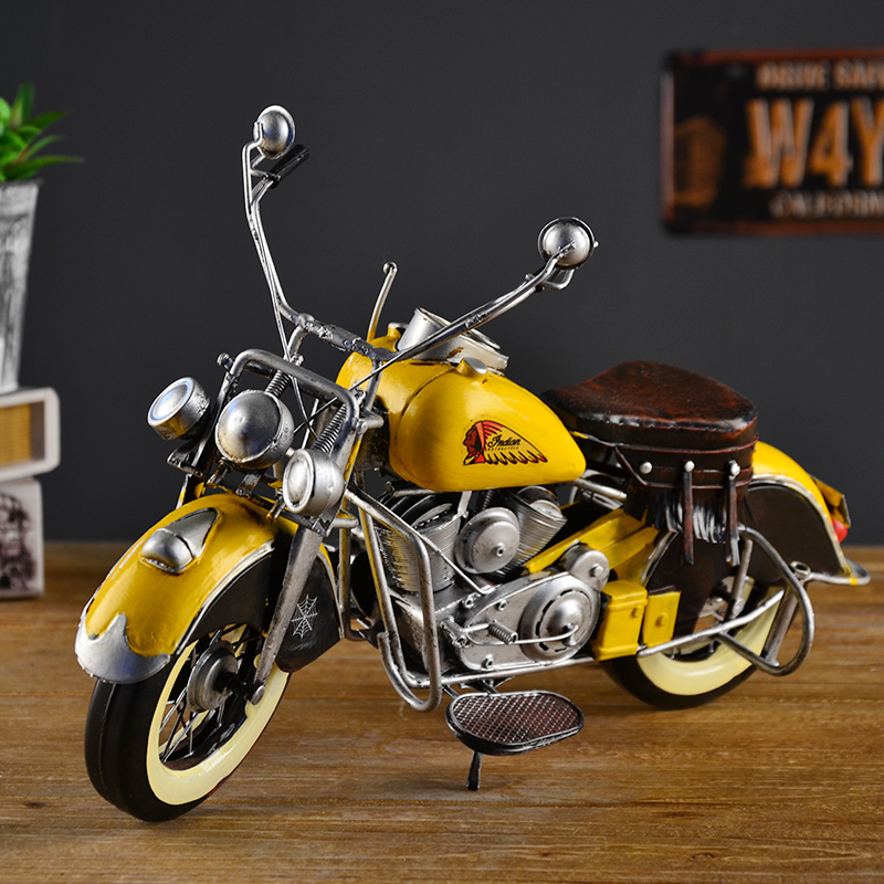 Living room tv cabinet wine home decorations ornaments retro furnishings window props iron motorcycle model