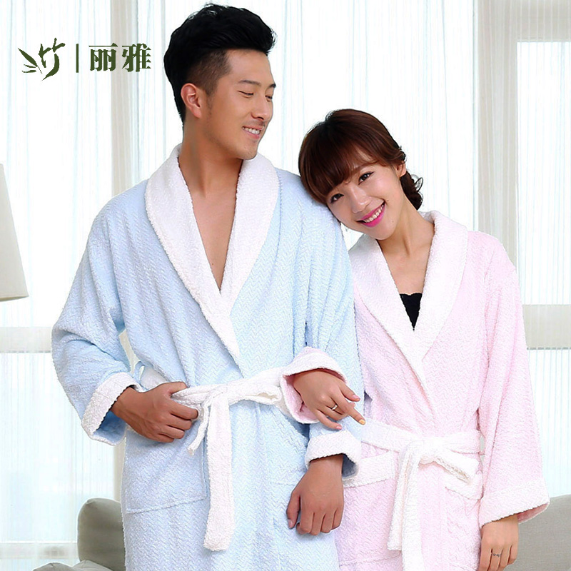 Liya bamboo bamboo fiber nightgown stitching spring and autumn male and female couple absorbent toweling bathrobe bathrobe specials