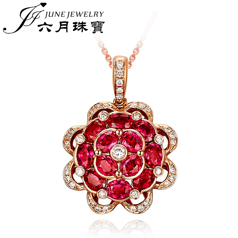 Lloyd's rep. jewelry/jewelry natural mozambique in June k rose gold ruby pendant can be customized