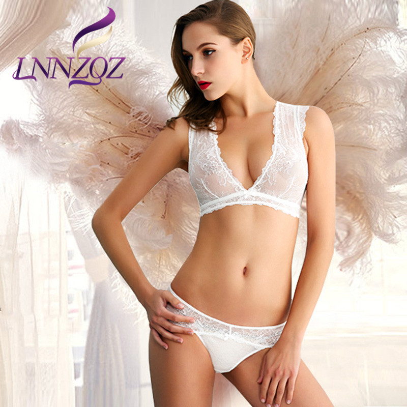 Lnnzqz transparent lace sexy underwear european and american type the united states back deep v-neck vest no rims bra set 4359