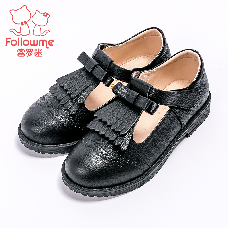 Lo fu fan of children's leather shoes student shoes 2016 autumn new girls princess shoes baby shoes boy shoes black shoes children