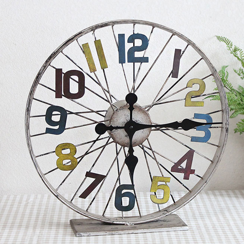 Loft industrial wind do the old wrought iron bicycle wheel meal cafe bar retro ornaments creative home decor clock
