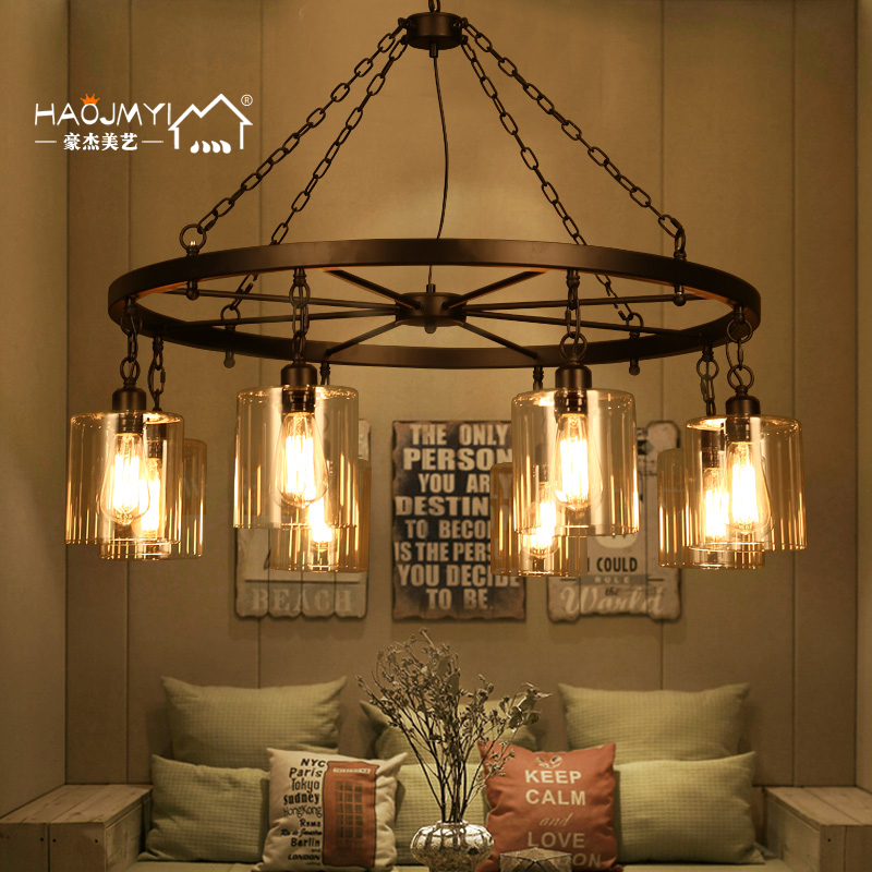 Loft style retro industrial iron chandelier american living room restaurant bar cafe creative art glass chandelier