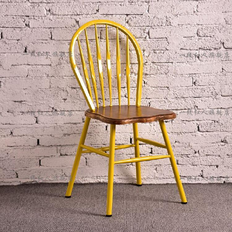 Get Quotations Loft Vintage Wrought Iron Wood Dining Chair Metal Casual Cafe Dessert Tea