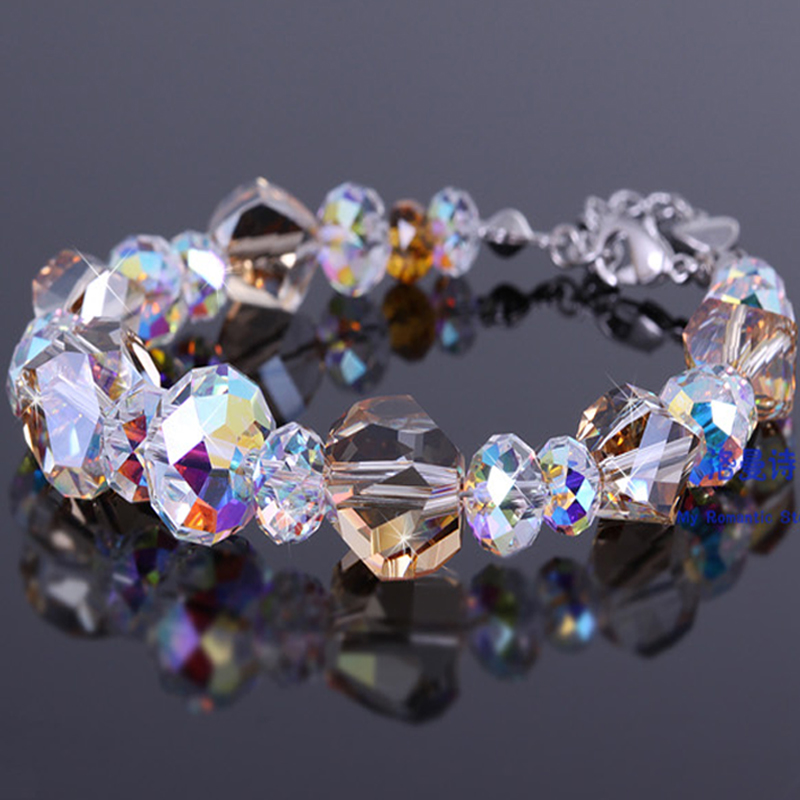 Lohman poetry lucky tea golden crystal silver bracelet female korean version of the simple korea when shang shiny accessories hand jewelry