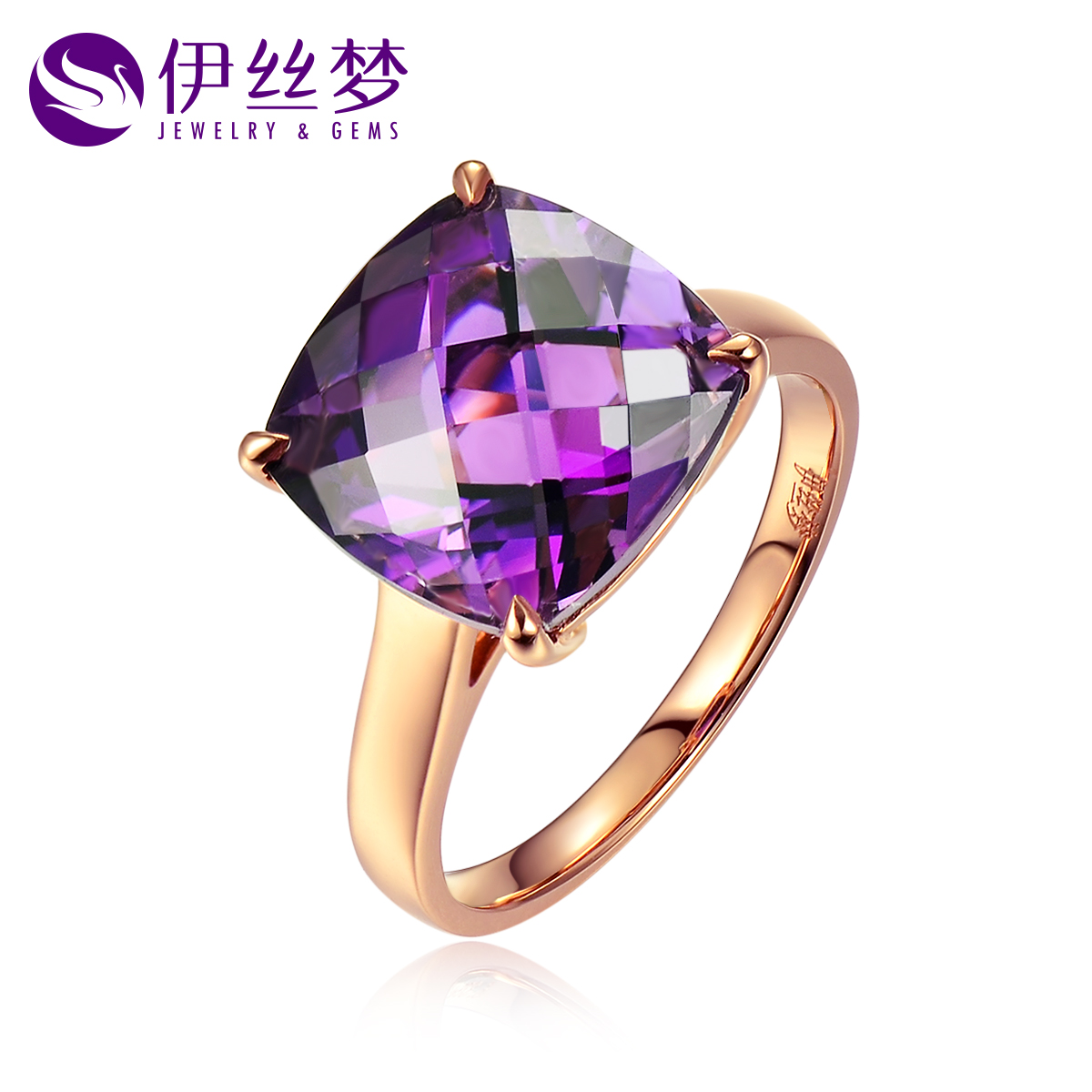 Lois dreams jewelry 8.2 karat k gold brazilian amethyst natural amethyst ring nvjie multicolored squares