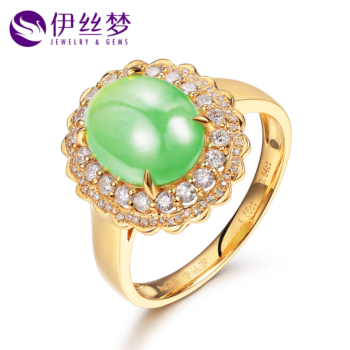 Lois dreams original jewelry 5 karat k gold with natural prehnite ring diamond nvjie multicolored light luxury models