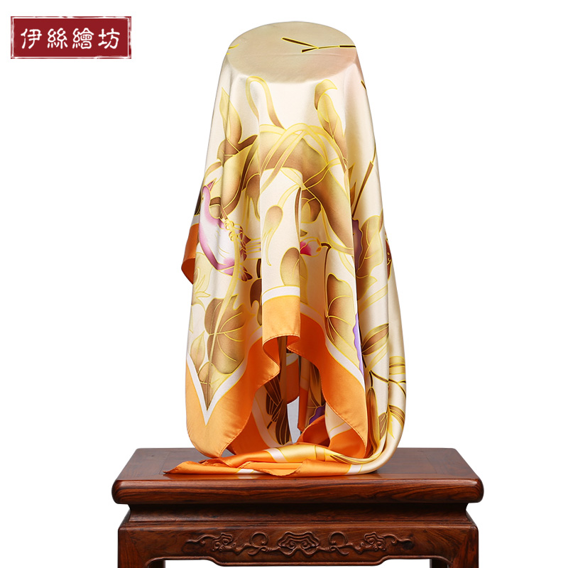 Lois painted painted square hangzhou silk scarf 100% silk scarf large square silk scarf silk scarf female spring and autumn