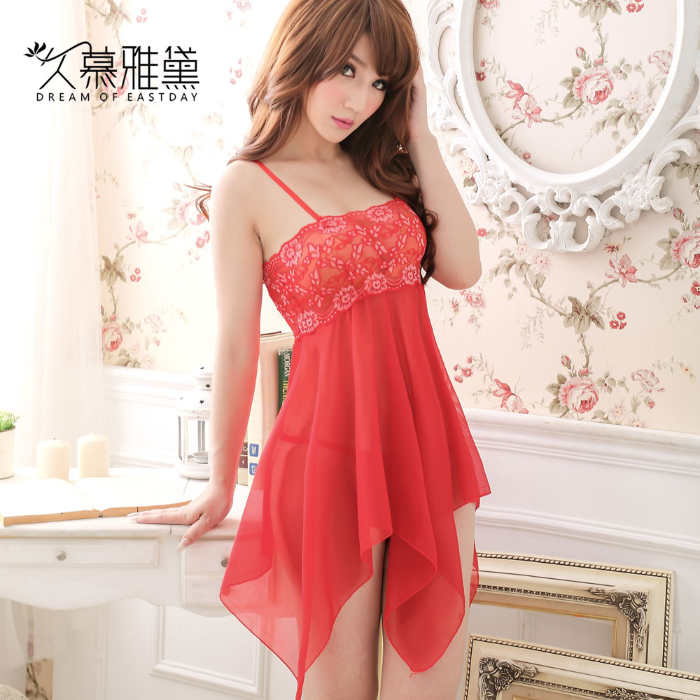 Long muya dai red sexy elegant chiffon lace stitching irregular skirt bride dress elegant nightgown s