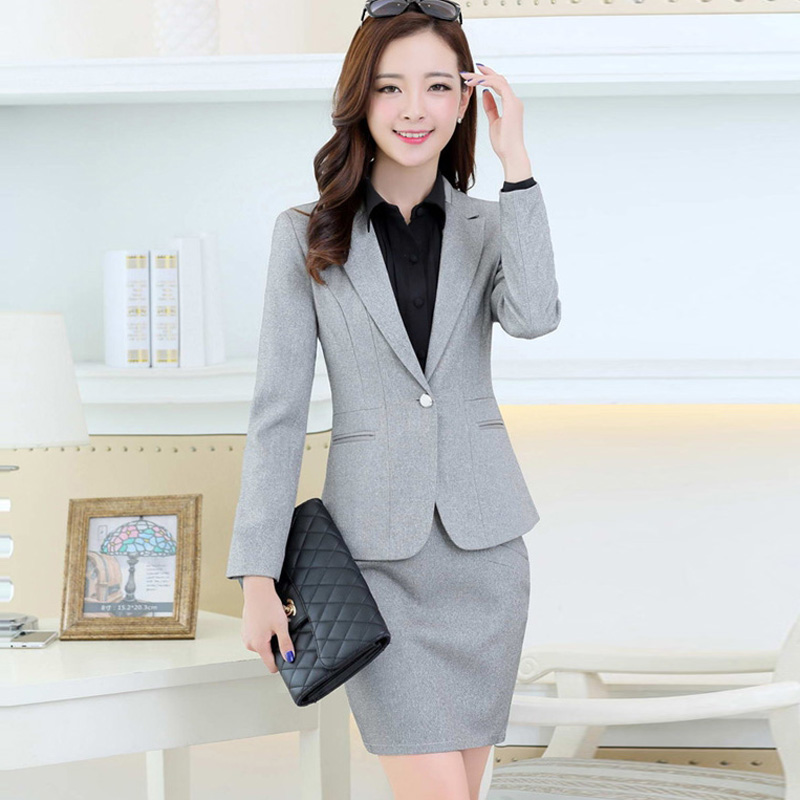 e421d72984 Get Quotations · Long sleeve two piece suit women's suit skirt suit skirt  career skirt suit autumn new korean