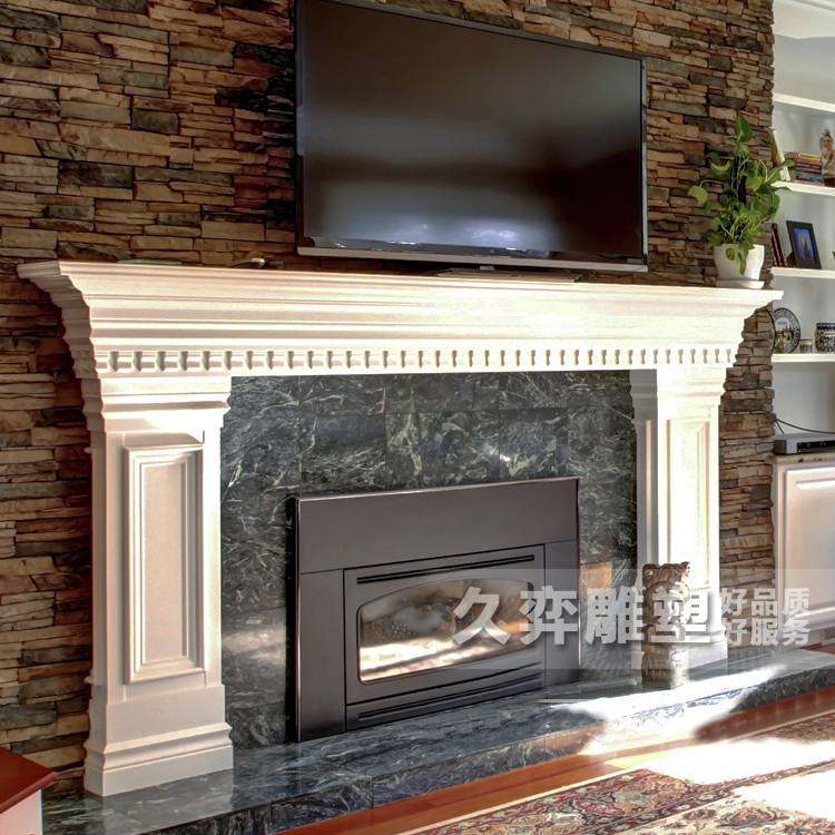 [Long yi sculpture] american fireplace stone fireplace marble fireplace mantel fireplace european white