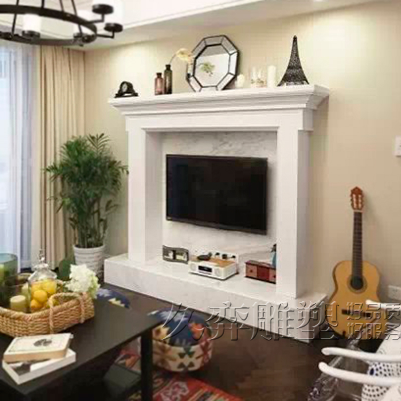 [Long yi sculpture] marble fireplace stone fireplace fireplace tv box tv backdrop wood tv cabinet tv cabinet custom