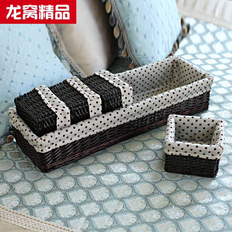 Longwo home willow storage baskets woven storage baskets storage box desktop storage box cosmetic storage