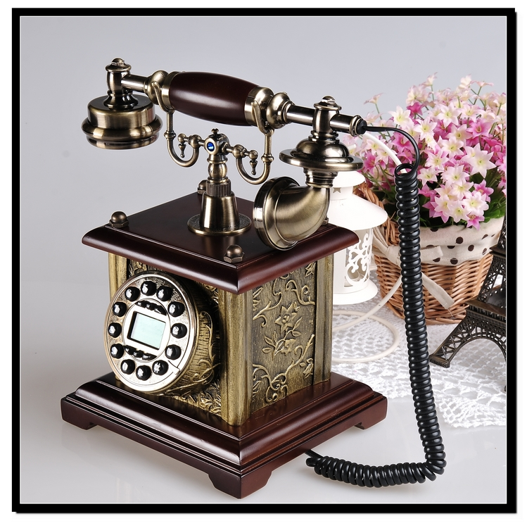Look win authentic free shipping european antique telephones fashion creative european wood electric upscale home landline telephones