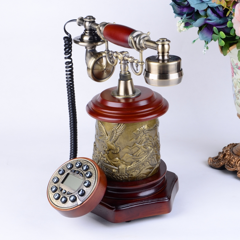 Look win vintage wood telephone fashion creative european telephone antique telephones upscale home telephone