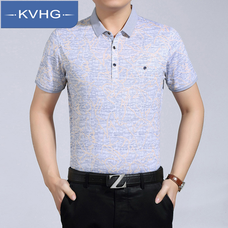 Loose and comfortable kvhg father loaded 2016 summer thin section iron men's fashion lapel short sleeve t-shirt tide 5832