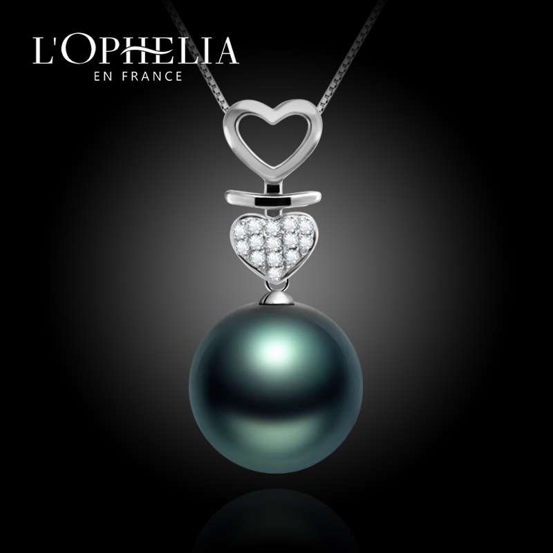 Lophelia tahitian black pearl pendant in sterling silver heart eye k diamond seawater pearl necklace gift gifts