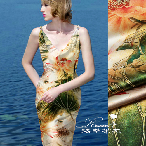 Lothar lyle â china wind digital printing heavy silk stretch satin silk fabric cloth summer water clear dutch