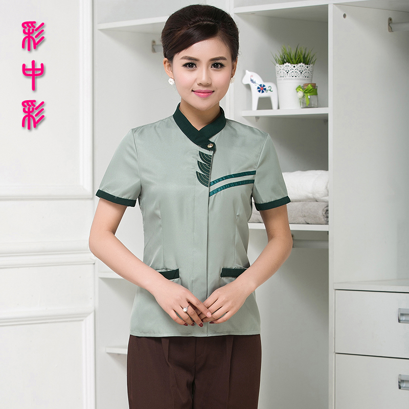 Lottery color hotel uniforms summer short sleeve cleaning service hotel cleaning aunt pa room attendant uniforms