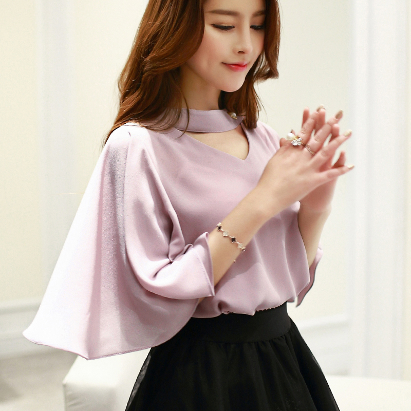 Lotus sleeve chiffon short sleeve shirt korean loose bat sleeve v-neck halter tops 2016 hitz influx of women