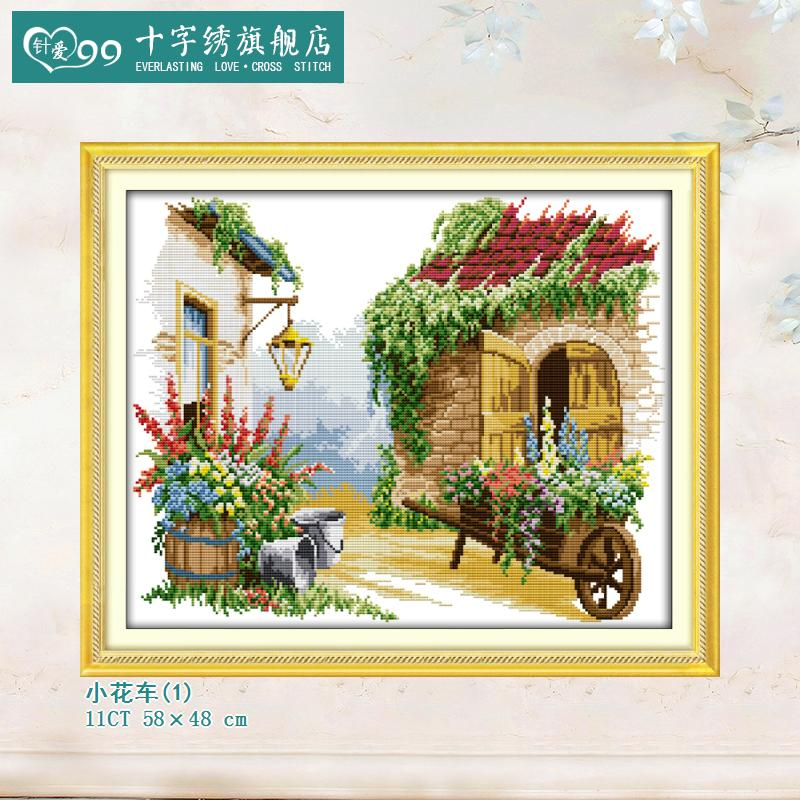 Love 99 new small float needle beautiful garden hut landscape printing stitch modern chinese living room corridor paintings