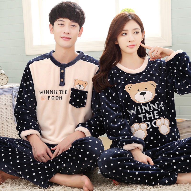 Love cards couple autumn and winter flannel pajamas female winter thick warm coral velvet suit tracksuit men