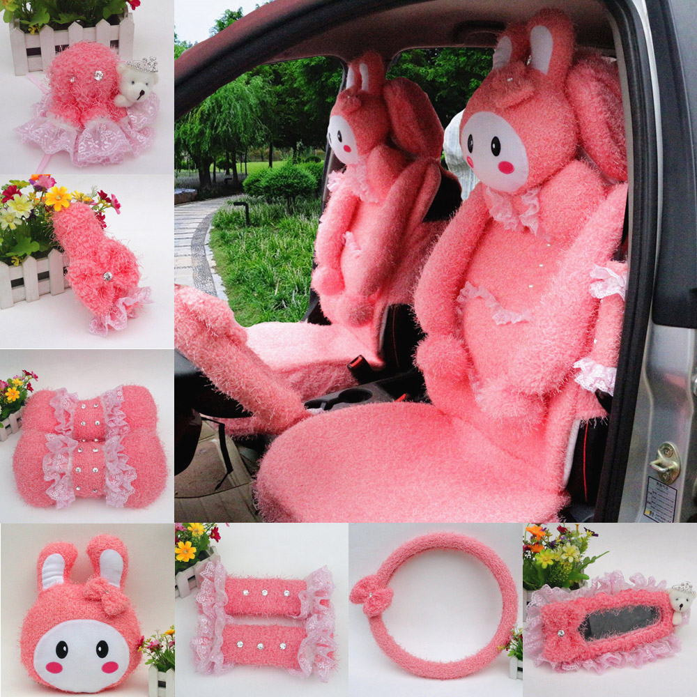 Love cute cartoon rabbit plush winter car accessories kit rearview mirror steering wheel sets of gears sets deep pink