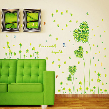 Love grass klimts decals living room wall stickers tv background wall stickers corridor walkway counter double cartoon stickers 7118
