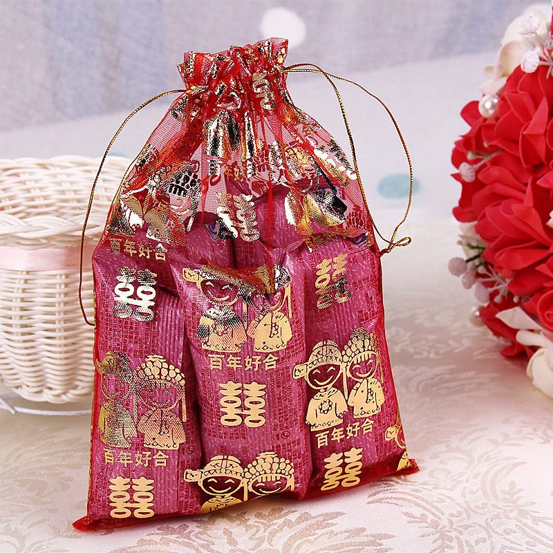 Love life creative selling bronzing large wedding candy bags organza bag wedding candy bags wedding favor bag