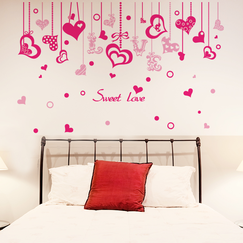 Love marriage room cozy bedroom bedside wall stickers love romantic living room wall stickers background wall painting decorative painting hanging