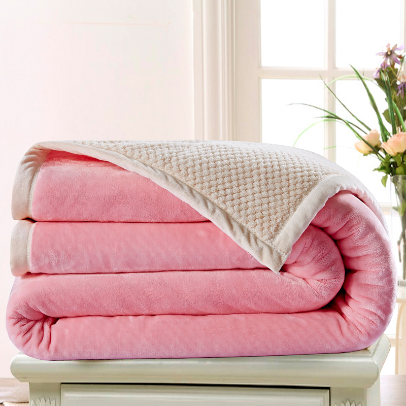 Love mika babe velvet double composite blanket cover double thick blanket of autumn and winter warm flannel blanket coral carpet