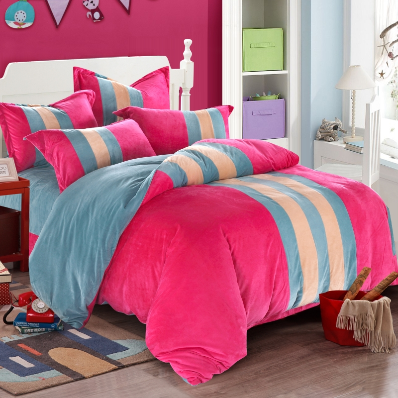 Love mika crystal velvet autumn and winter coral velvet bedding a family of four thick flannel bedding kit