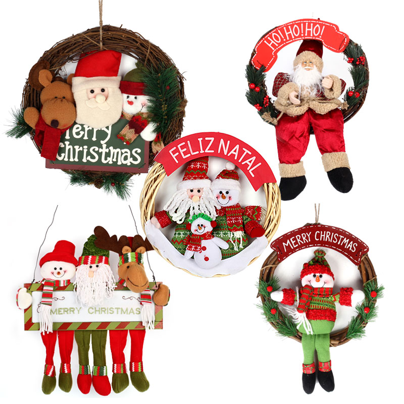 Love novelty christmas decorations christmas supplies christmas snowman santa claus christmas wreath rattan wreath