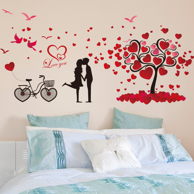 Love tree wall stickers romantic bedroom bedside couple klimts marriage room living room background decorative stickers can be removed