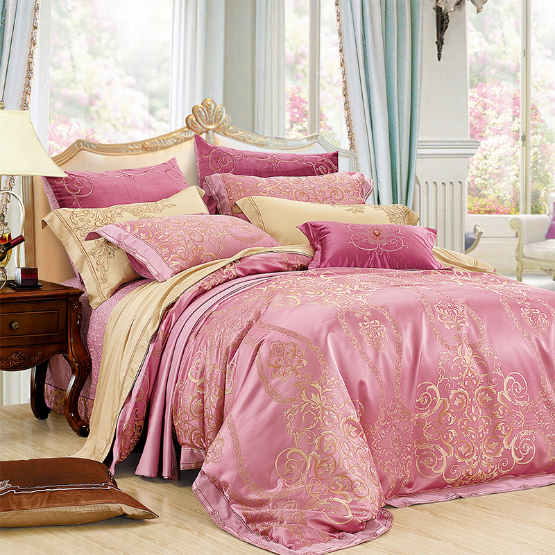 Love welcomes between european and american style upscale bedroom textile pieces of sets of silk satin jacquard eight sets of JX-137