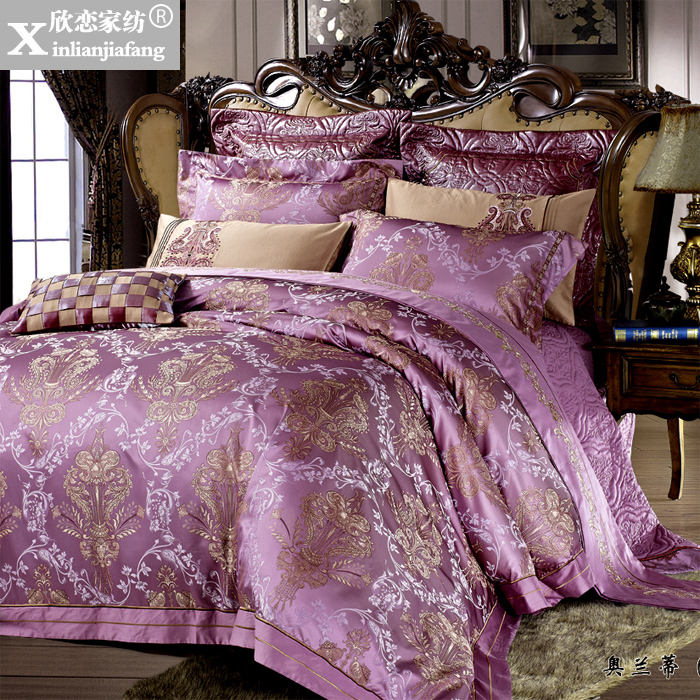 Love welcomes european model room wedding pieces of sets of bedding satin jacquard textile bed covers ten sets