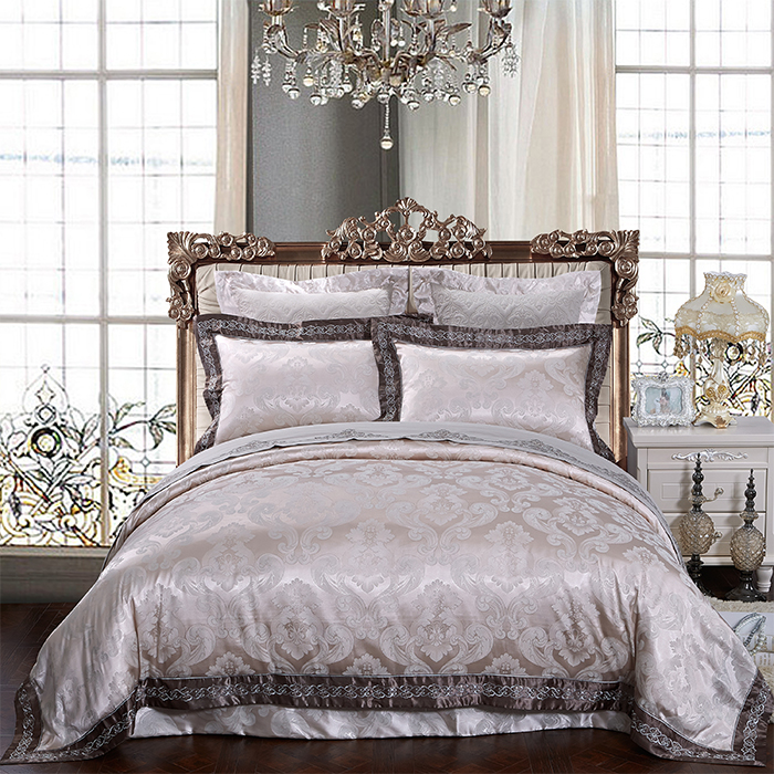 Love welcomes new textile upscale european and american style bedding package satin jacquard bed cover six sets JX-92