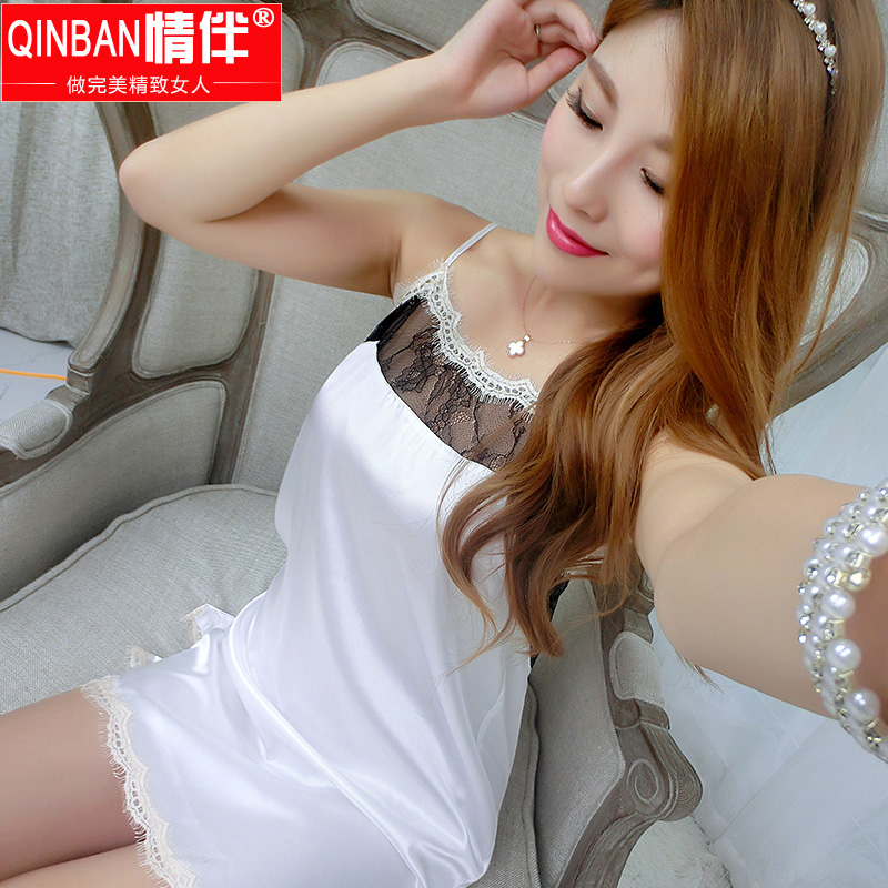 Love with thin models sexy silk nightgown pajamas female summer silk nightgown tracksuit ms. suspenders sexy temptation