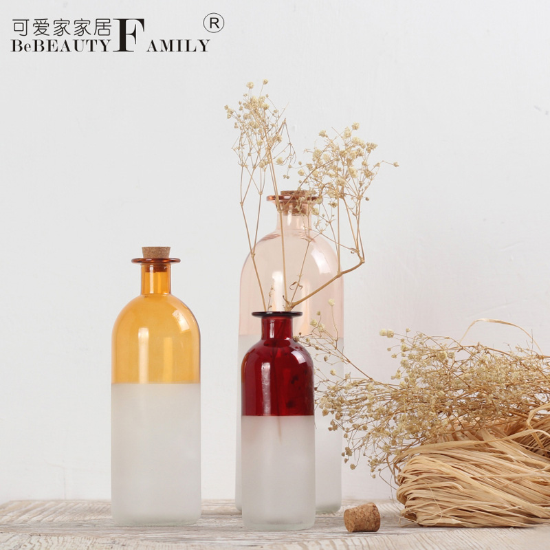 Lovely home colored frosted glass bottles sealed storage bottles fragrance bottles home decoration glass vase decoration