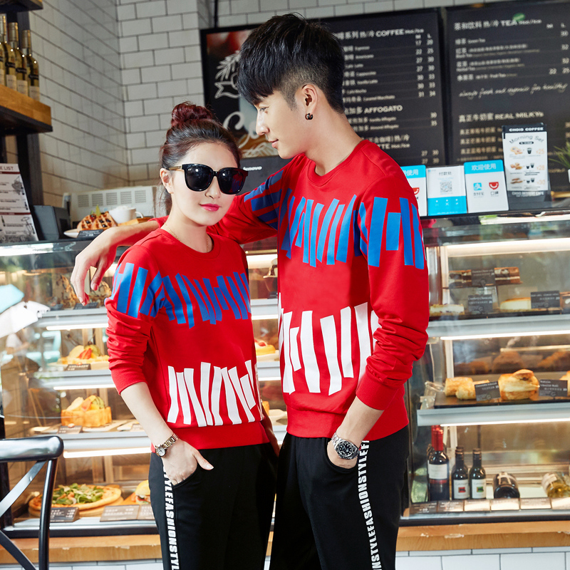 Lovers autumn 2016 mens long sleeve cotton sweater suit korean men and women transported action suit sweater lovers