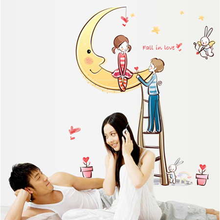 Lovers moon 450 three generations of removable wall stickers romantic wedding hi word marriage room decorative wall stickers bedroom