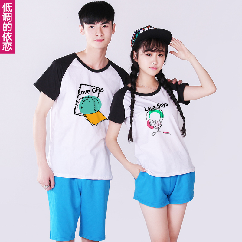 Lovers spring 2016 korean version of the new short sleeve half sleeve t-shirt printing custom class service men and women summer suit