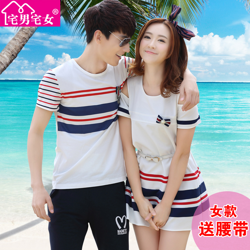 Lovers summer 2016 new korean men short sleeve t-shirt lovers summer dress skirt korean version was thin