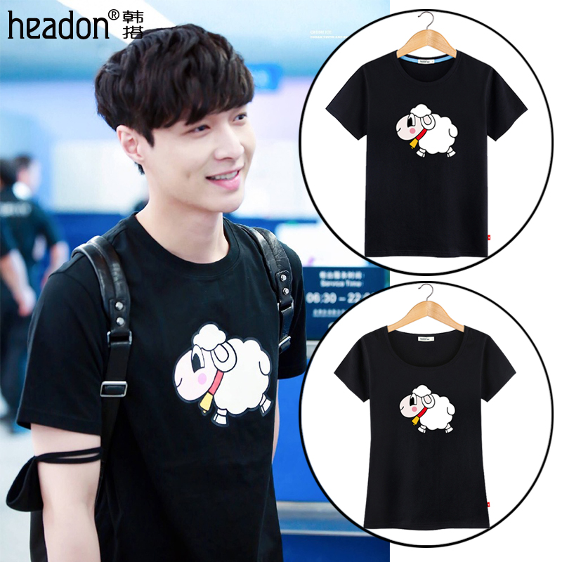 Lovers summer 2016 new wave of korean version of bf small sheep lay zhang yi xing same paragraph influx of men short sleeve t-shirt female